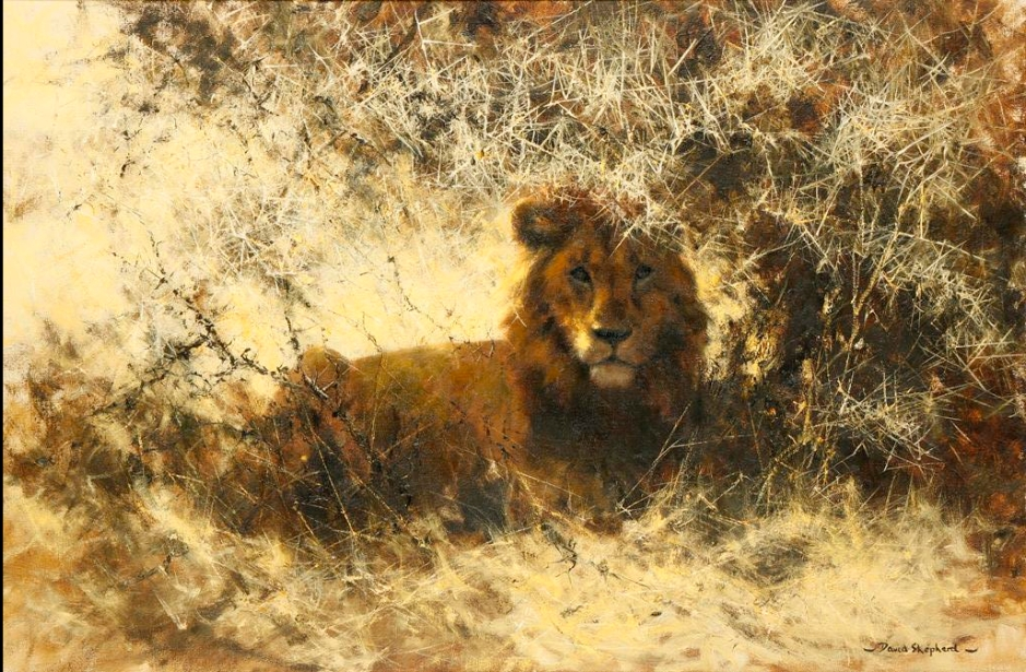 David Shepherd, painting, lion, auction