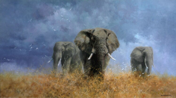 David Shepherd, Savuti Elephants, painting