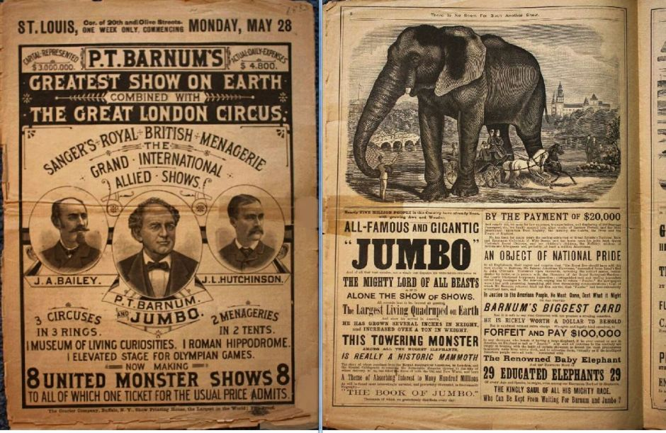 newspaper, Jumbo, Barnum, Greatest Show on Earth, elephant, circus
