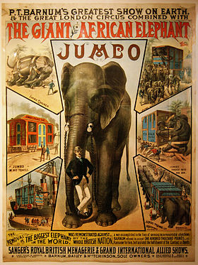 poster, affiche, Jumbo, Barnum circus, giant elephant, african elephant