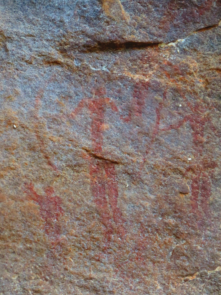 Bushmen hunters, rock art, San archaeological site, Leshiba Wilderness, South Africa
