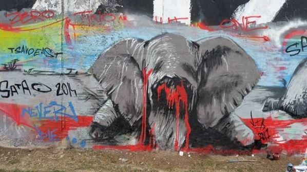 Pavael Cisarovsky, Satao, poaching, street art, Prague, Czech Republic, graffiti, painting
