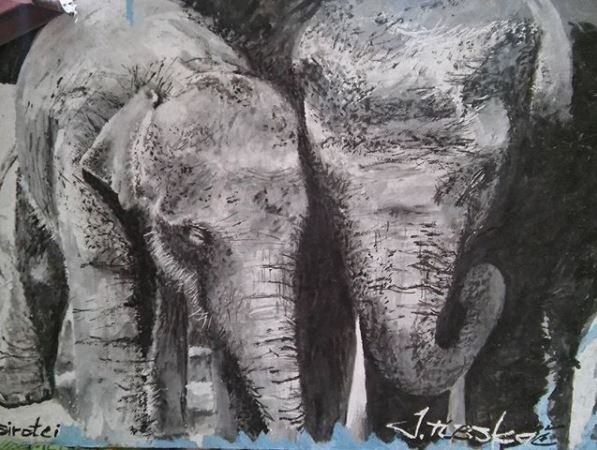 elephants, street art, painting, Pavel Cisarovsky, Prague, poaching, Africa