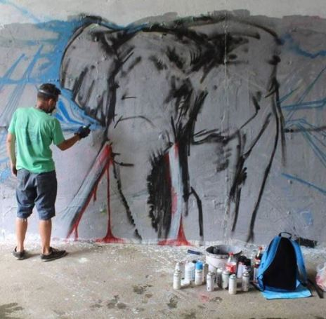 Pavel Cisarovsky, elephant, poaching, Africa, street art, Czech Republic, Prague
