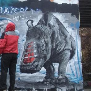 Pavel Cisarovsky, Hope, rhino, poaching, Africa, street art, Czech Republic, Prague