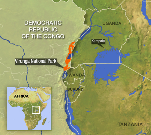 Virunga National Park, DRC, Africa, map