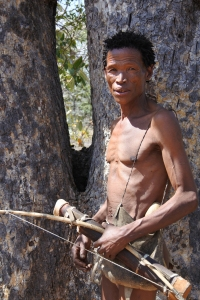 San hunter, Bushman, arrow, Living Museum, Namibia, Kalahari